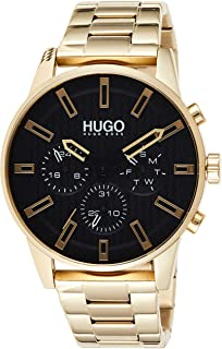 Hugo Boss Men's Black Dial Ionic Thin Gold Plated 1 Steel Watch - 1530152