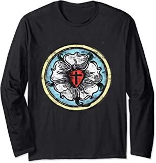 Martin Luther Rose Lutheran Symbol Distressed Chalk 5 Solas Long Sleeve T-Shirt