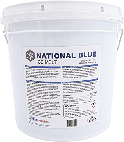 National Blue Ice Melt 20lb Bucket - Fast Acting Ice Melter - Pet, Plant and Concrete Friendly, Environmentally Safe ...