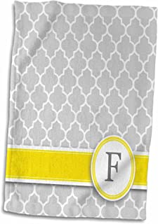 3D Rose Name Initial Letter F-Monogrammed Grey Quatrefoil Pattern-Personalized Yellow Gray Towel, 15