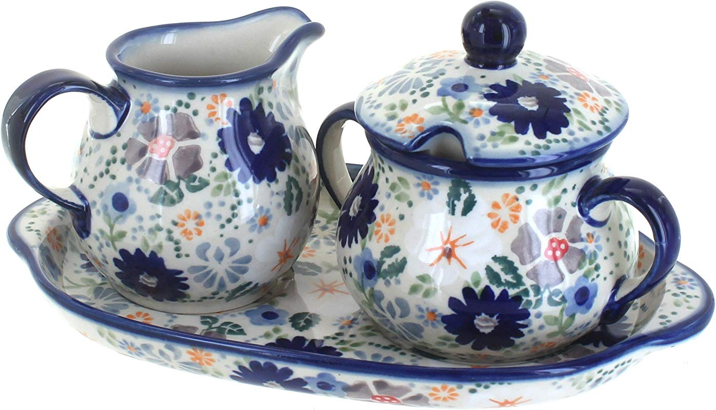 Blue Rose Polish Pottery Carnival Sugar Creamer With Tray