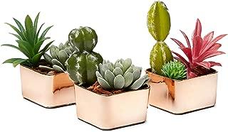 Copper Succulent Pot 3.3 Inch Ceramic Contemporary Square Design Plant Pot/Cactus Plant Pot - Pack of 3