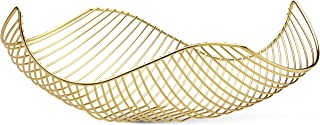 Vistella Fruit Bowl Basket in Shiny Gold - 5 Colors Available - Stainless Steel Wire Design with Modern Styling - Decorative Countertop Centerpiece