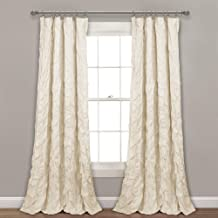 "Lush Decor, Ivory Ravello Pintuck Window Curtain Panel, 84"" x 52"", 84"" L"
