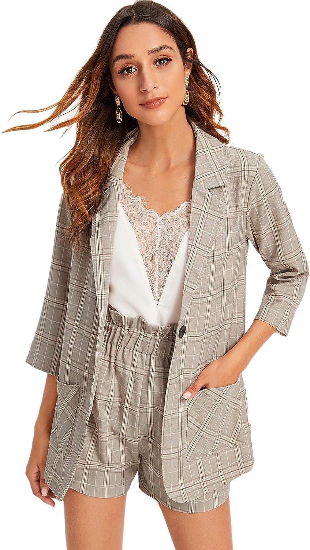 Milumia Women 2PCS Plaid Button Front Blazer and Shorts Office Set Business Suit