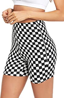 Jollymoda Women's Checkered Biker Shorts Leggings