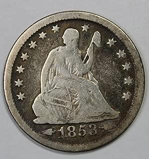 1853 P Seated Liberty Quarter w/arrows and rays 25c Light Rainbow Toning