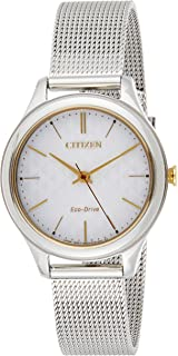 CITIZEN Womens Solar Powered Watch, Analog Display and Stainless Steel Strap - EM0504-81A