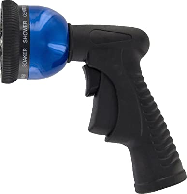 Plastair Spring Nozzle WN-G-3M-AMZ All metal 9-Pattern Spray Nozzle with Trigger Lock, Blue
