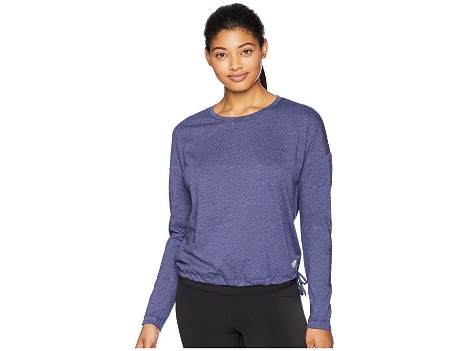 New Balance Heather Tech Long Sleeve Top (Pigment Heather/Vintage Indigo) Women