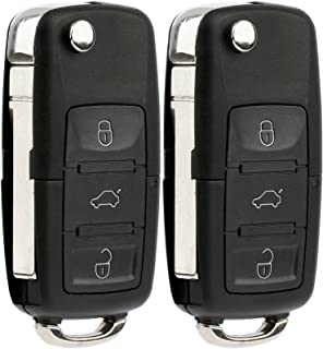 KeylessOption Keyless Entry Remote Control Car Flip Key Fob Replacement for HLO1J0959753AM, HLO1J0959753DC (Pack of 2)