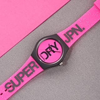 Superdry Urban Brand Glitter Analogue Matte Neon Pink Dial Pink Silicon Watch For Women - SYL189PP