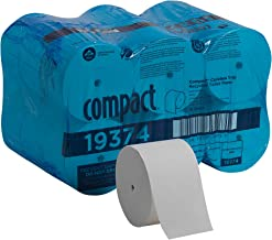 Compact Coreless 1-Ply Recycled Toilet Paper by GP PRO (Georgia-Pacific), 19374, 3000 Sheets Per Roll, 18 Rolls Per Case