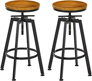 VILAVITA Set of 2 Bar Stools 26 Inch to 32 Inch Adjustable Height Counter Height Bar Stool, Retro Finish Industrial Style Wood Barstools