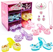 Girls Princess Dress up Shoes Set Hodola Girls Play Shoes and Jewelry Boutique Role Play Collection Shoes Set Gift Set wit...
