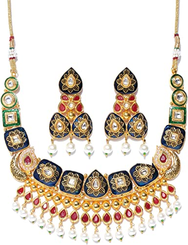 Gold Toned and Navy Kundan Copper Jewellery Set for Women and Girls