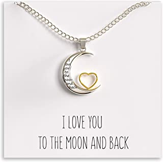 I Love You to The Moon and Back Pendant Necklace, 18-Inch Silver and Gold