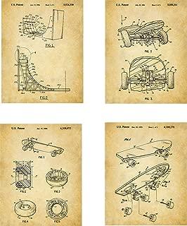 Skateboarding Patent Wall Art Prints - set of Four (8x10) Unframed - wall art decor for skateboarders