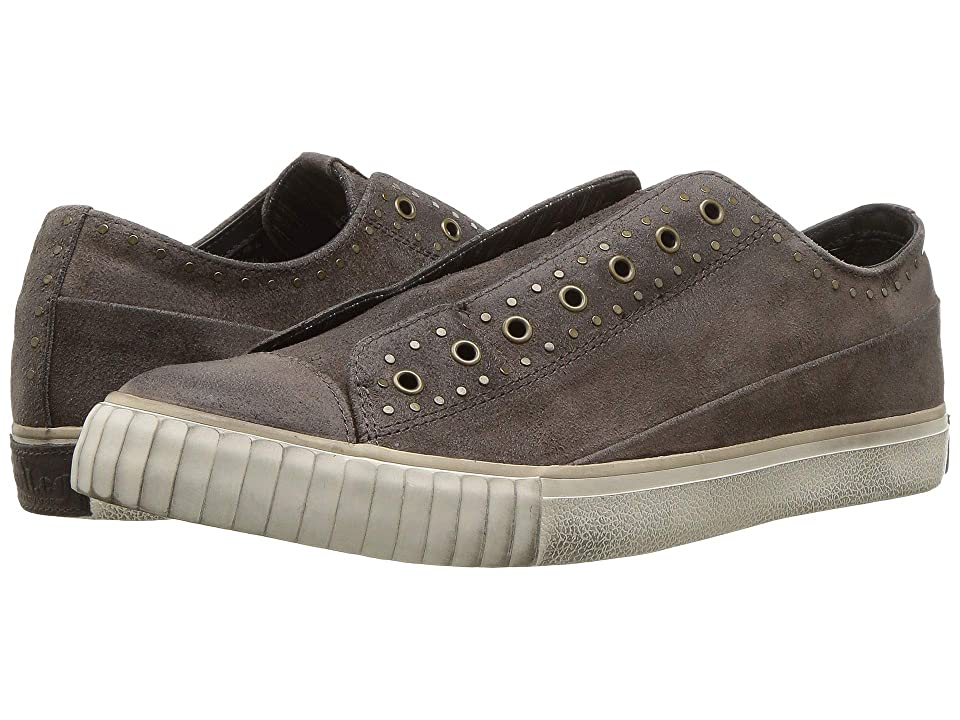 36007e0a1879 John Varvatos Studded Waxy Suede Low Top (Griffin Grey) Men s Shoes
