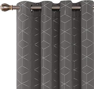 Deconovo Cortinas Infantiles Opacas de Salón Dormitorio Diseño de Rombo Plata con Ojales 2 Paneles 132 x 229 cm Gris Claro