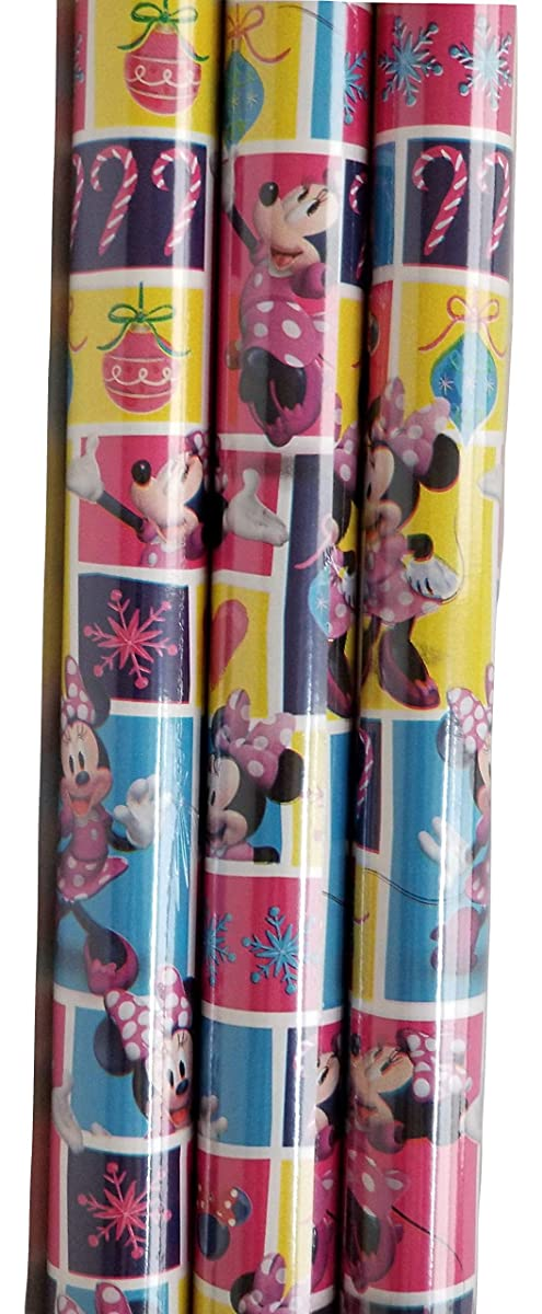 Minnie Mouse Theme Gift Wrap -Christmas Wrapping Paper 20 sq ft. (1 Roll)