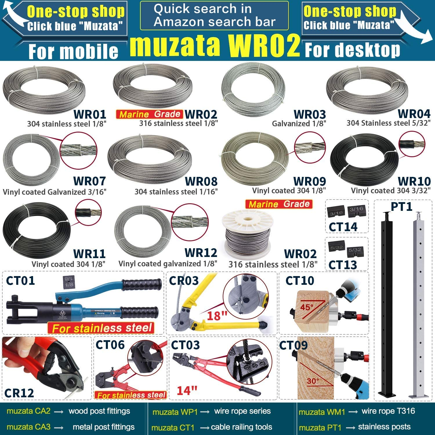 Muzata 4 Pairs Stainless Steel Cable Railing Kit Systems Fit 1//8 Wire Rope,Angle 180/° Adjustable Swage Toggle Turnbuckle Tensioner and End fititing,T316 Marine Grade,CK07,Series CA1 CD1 CS1