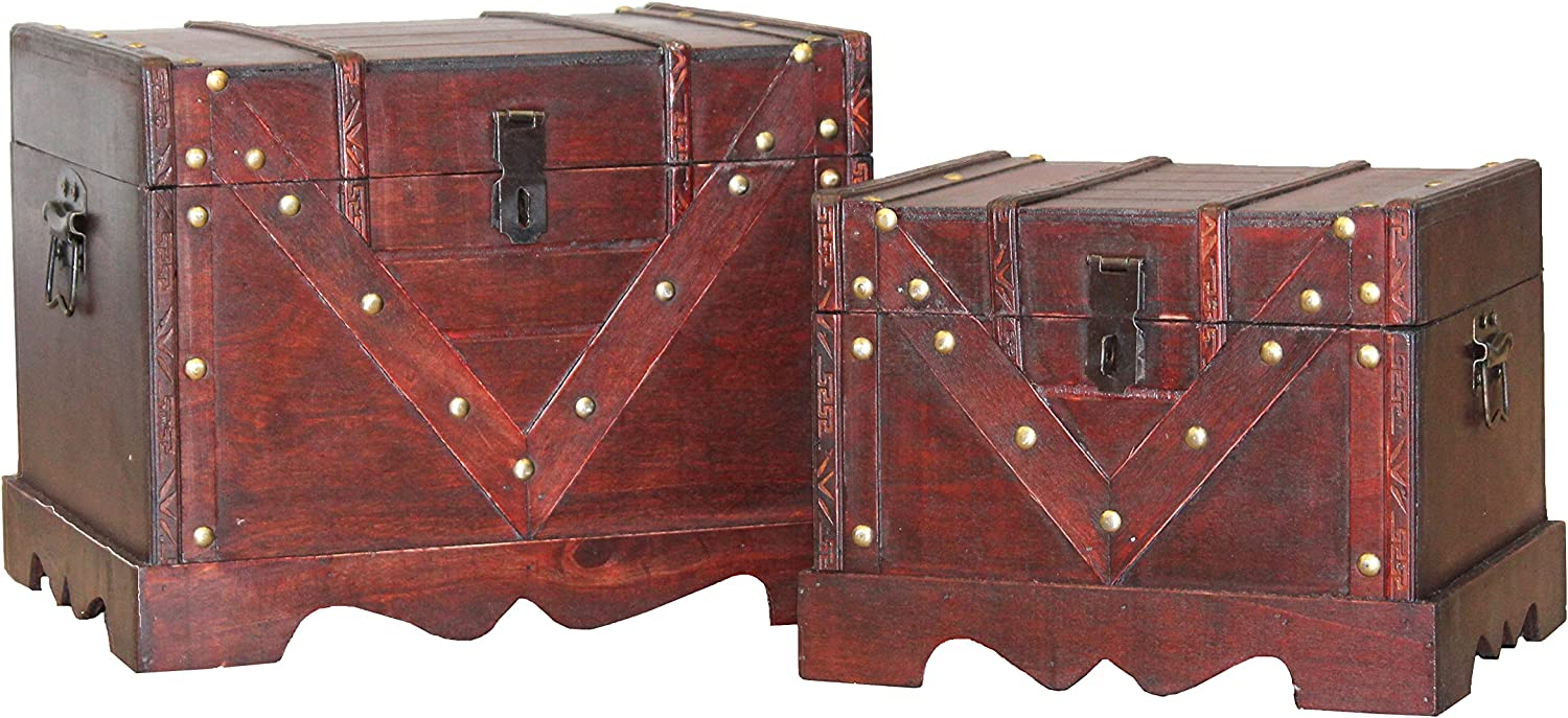 Vintiquewise Set of 2 Wooden Box, Old Style Decorative Treasure Chest Lockable Latch
