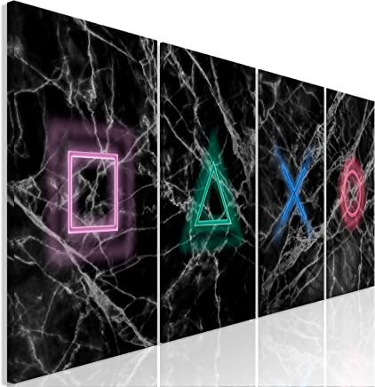 murando - Bilder für Gamers Spielkonsole 160x60 cm - Vlies Leinwandbild - 4 TLG - Kunstdruck - modern - Wandbilder XXL - Wanddekoration - Design - Wand Bild - schwarz grau i-A-0140-b-i