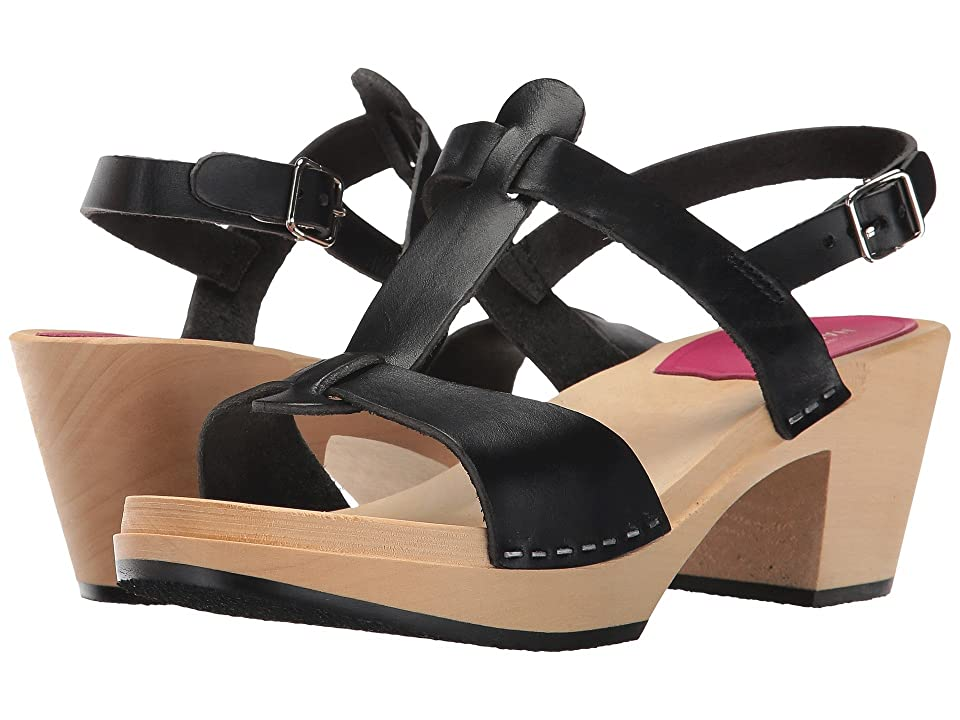 Swedish Hasbeens Greek Sandal (Black) High Heels