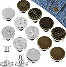 Hianjoo Jeans Button Pins Replacement [ 12 Pcs ], Adjustable Jeans Button Instant can extend or Reduce Any Jean Pants Wais...