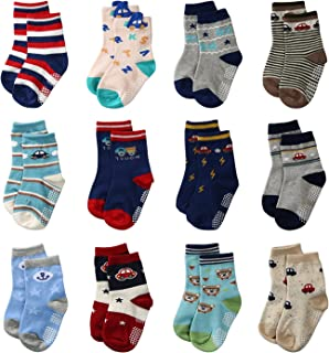 La Volupte Baby Boy's Ankle Cotton Socks Toddler Non Skid Socks with Grip 12 Pairs