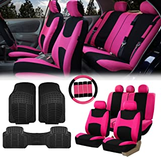FH Group FB030115 Light & Breezy Cloth Seat Covers, Pink/Black Combo Set:FH2033 + F11306 Vinyl Floor Mats-Fit Most Car, Truck, SUV, or Van