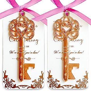 25 Rose Gold Key Bottle Opener Wedding Favor with Tag, Rose Gold Foil Stamping Thank You Escort Card, Skeleton Key Bottle ...