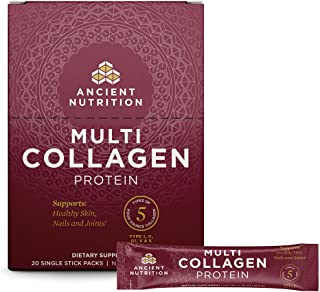Ancient Nutrition Multi Collagen Protein Powder Stick Packs, Pure, Supplement Supports..