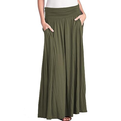 9e525eca5b094 TRENDY UNITED Women s High Waist Fold Over Pocket Shirring Skirt