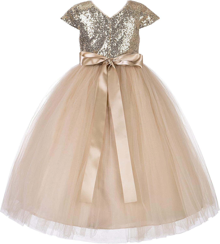 Heart Cutout Sequins Tulle Flower Girl Dress Social Events Parties 172seq