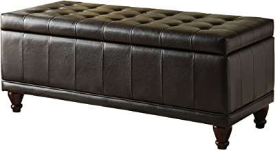 Homelegance Faux Leather Lift Top Storage Bench With Tufted Accents Dark Brown Furniture Decor