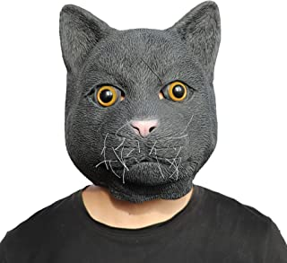 ifkoo Black Cat Mask Halloween Costume Party Novelty Animal Head Rubber Latex Mask