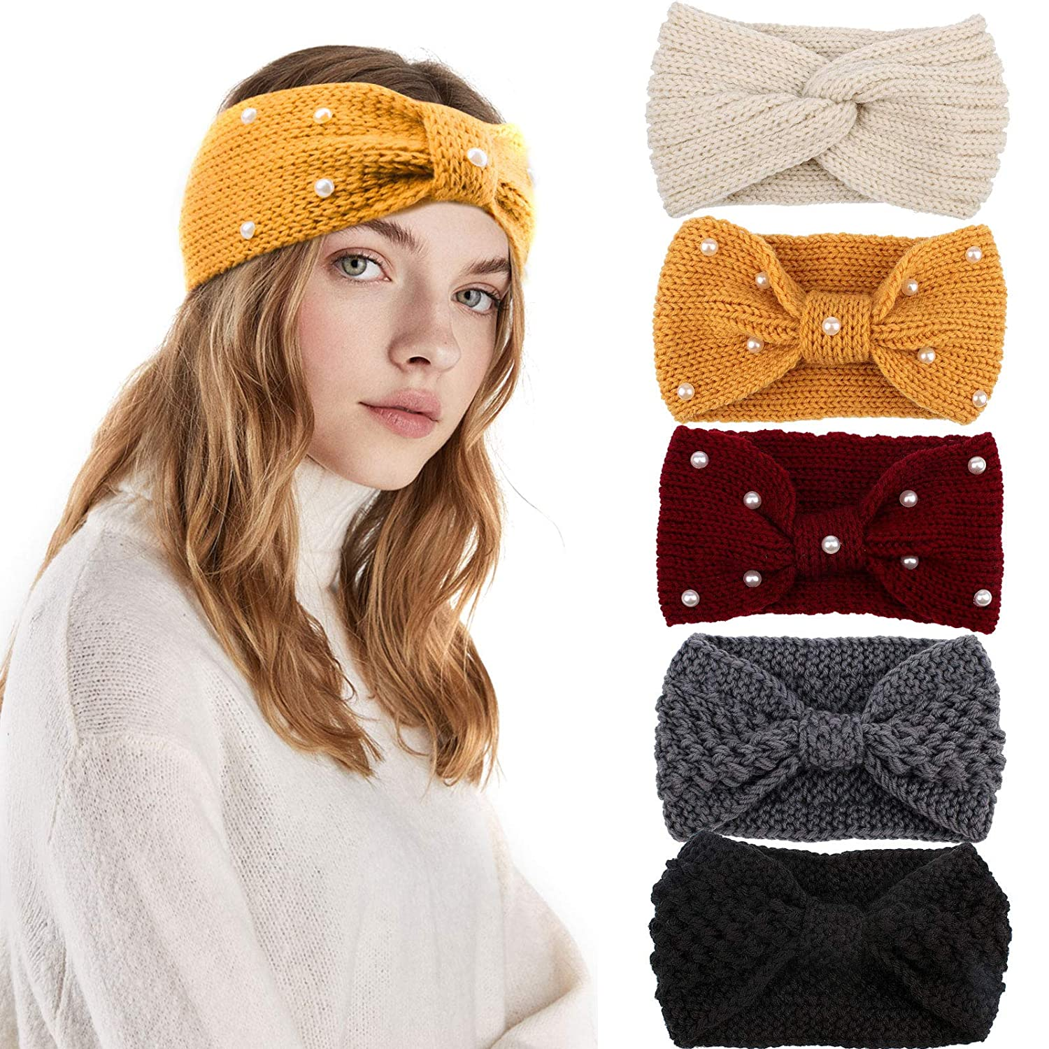 CIEHER Winter Headbands for Women,Crochet Turban Headbands for Women, Stretch Knit Wide Headbands Winter Ear Warmer Thick Head Band,Head Warmer for Women Soft,Vintage Bow Hairband with Pearl