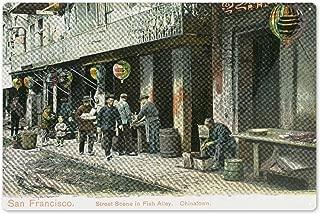 Lantern Press San Francisco, California - A Street Scene in Fish Alley 12005 (6x9 Aluminum Wall Sign, Wall Decor Ready to Hang)