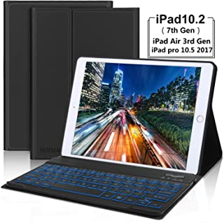 iPad 7th Gen 10.2 Keyboard Case 2019- iPad Air 3 Keyboard case- iPad 10.5 Keyboard- Detachabl Wireless Bluetooth Backlit Keyboard- iPad Case with Keyboard for iPad 10.2 10.5 Inch- Black