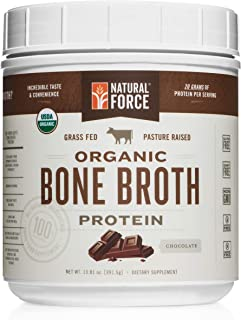 Organic Bone Broth Protein Powder, Best-Tasting Chocolate Flavor – Made from High Quality Grass-Fed Beef Bone Broth *No Fillers or Chicken, Rich in Ancient Collagen* by Natural Force, 13.81 Ounce