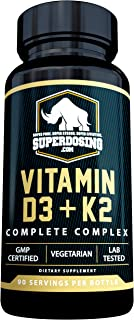 [90 Days] Max Strength, 2 in 1 D3 and K2 with 10,000 iu Vit D and 1,500 mcg Vit K. D3K2 Supplements Promote Bone and Heart...