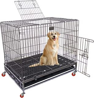 """AQUAPETZWORLD 36"""" Heavy Duty Double Door Dog Cage Strong Metal Kennel and Crate for Large Dogs, Easy to Assemble, Matting ..."""