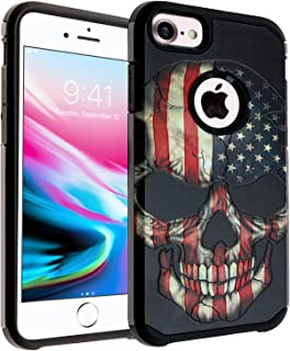 iPhone 6S Case Flag Skull, DURARMOR [ Drop Protection] Iphone 6 US Flag Skull Dual Layer Hybrid ShockProof Slim Fit Armor Defender Protector Cover for iphone 6 / 6s American Flag Skull