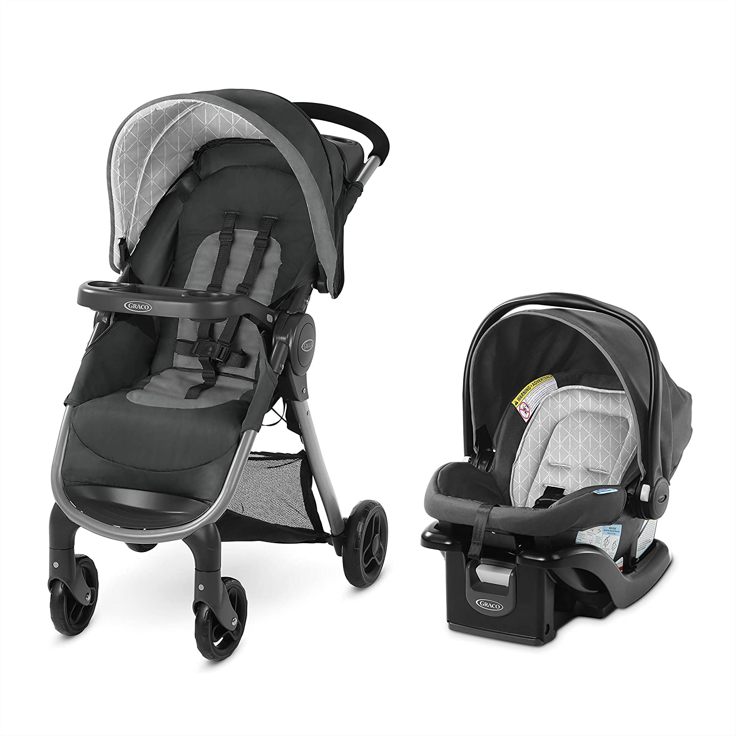 GRACO FastAction SE Travel System Includes Quick Folding Stroller and SnugRide 35 Lite Infant Car Seat, Derby