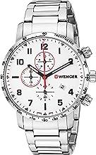 Wenger Men's Attitude Swiss-Quartz Stainless-Steel Strap, Silver, 22 Casual Watch (Model: 01.1543.110)