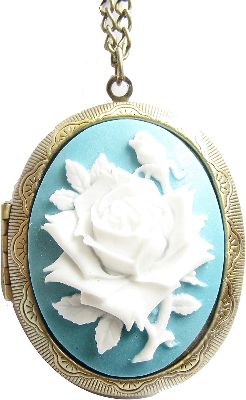 Antique Bronze Rose Cameo Locket Necklace Love Rose Cameo Jewelry