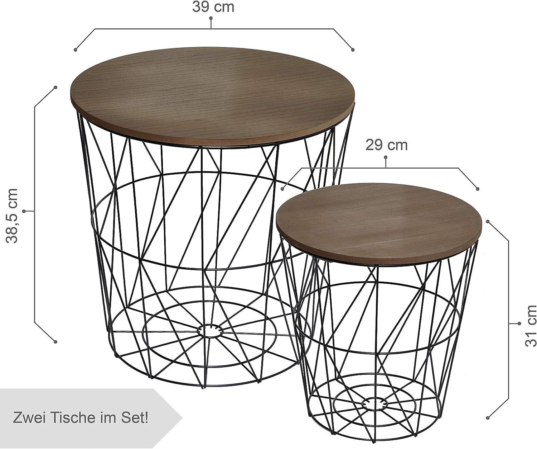 CALUTEA Moderne Beistelltische Rund   2er Set Drahtkorb Metall Schwarz Holz Design Braun
