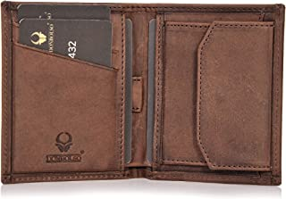 DONBOLSO Rom I Mini Geldbörse mit RFID-Schutz I Slim Wallet mit Münzfach I echtes Leder I Geldbeutel in Braun Vintage